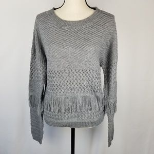 NWT BB Dakota Gray Fringe Sweater